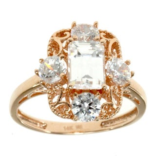 One of a Kind Michael Valitutti 14k Rose Gold Emerald-cut Cubic Zirconia Cocktail RIng