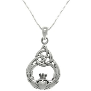 CGC Sterling Silver Celtic Claddagh Teardrop Knot Pendant on Box Chain Necklace