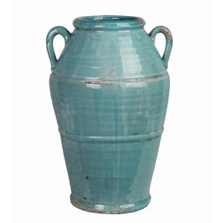 Small Turquoise Ceramic Jar with Handles