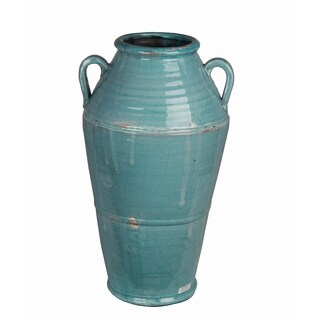 Large Turquoise Ceramic Jar with Handles
