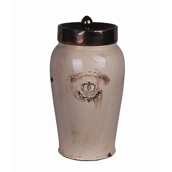 Large Cream and Gold Ceramic Jar with Lid