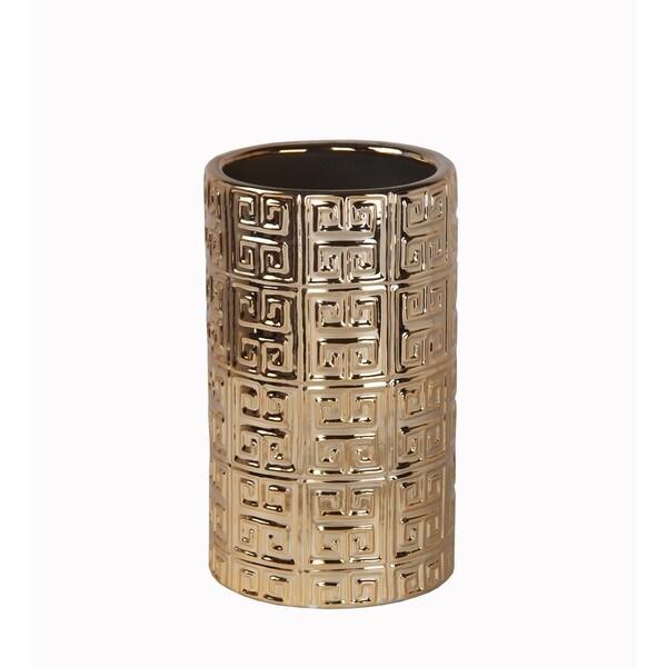 Small Metallic Gold Ceramic Vase