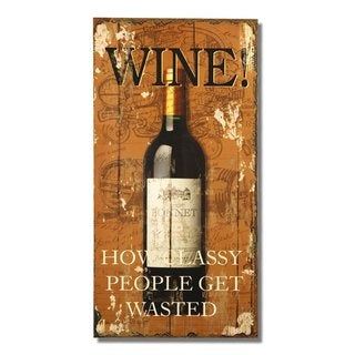 """Adeco Decorative Wood Wall Sign Plaque """"Wine!"""""""
