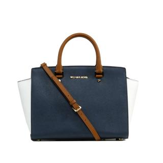 Michael Kors 'Selma' Large Navy, Luggage & White Satchel