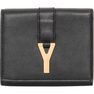 Saint Laurent 'Y' Black Leather Compact Wallet