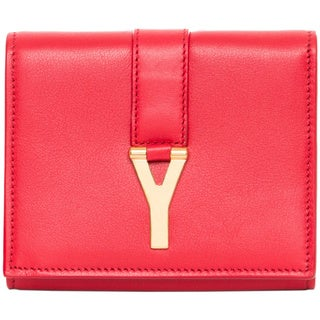 Saint Laurent 'Y' Red Leather Compact Wallet