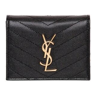 Saint Laurent Black Leather Monogram Compact Wallet