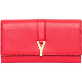 Saint Laurent Large 'Y Line' Red Leather Flap Wallet