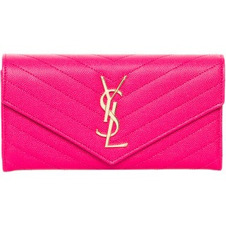 Saint Laurent Large Monogram Fuchsia Leather Wallet