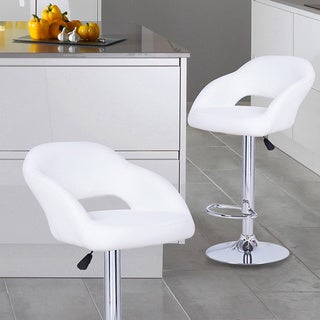 Adeco White Hydraulic Lift Adjustable Barstool Low Cut Out Back Chair, Leather-Look, Pedestal Base (