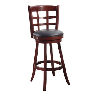 Adeco Walnut-Color Wood Bar-Style Intersecting Line Chair, Swivel Base, Leatherette Cushion