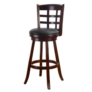 Adeco Dark Brown Wood Bar-Style Intersecting Line Chair, Swivel Base, Leatherette Cushion