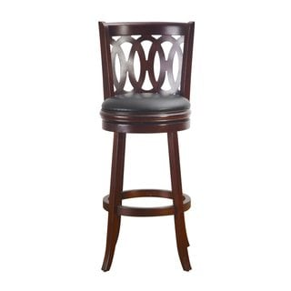 Adeco Dark Brown Wood Bar-Style Chair, Swivel Base, Leatherette Cushion