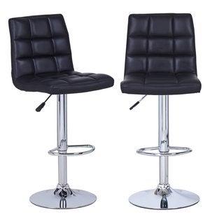 Adeco Black Leatherette Adjustable Barstool Chair, Chrome Base (Set of 2)