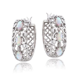 Glitzy Rocks Sterling Silver Created Opal And Diamond Accent Hoop Earrings