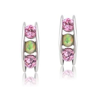Glitzy Rocks Sterling Silver Created Opal and Pink Cubic Zirconia J Hoop Earrings