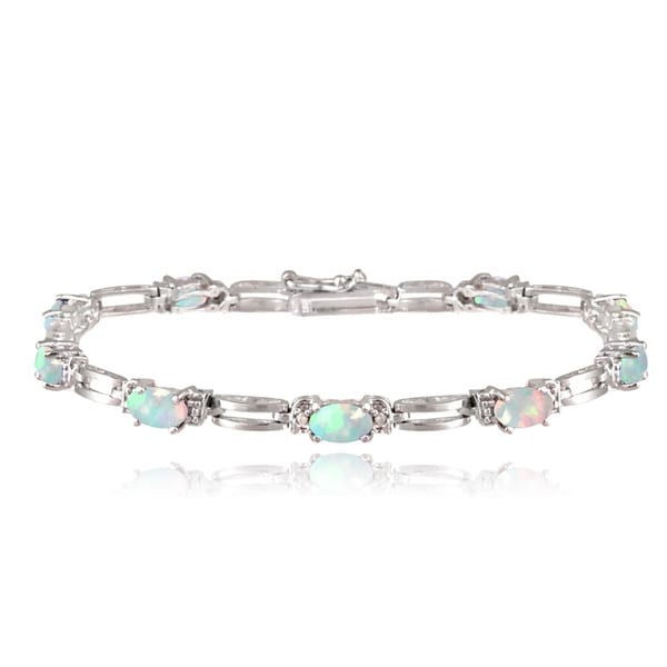 Glitzy Rocks Sterling Silver 2 1/3ct TGW Lab-created Opal and Diamond Accent Bracelet 13945977