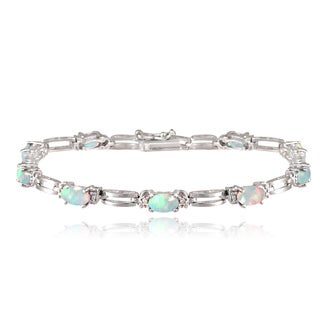 Glitzy Rocks Sterling Silver 2 1/3ct TGW Lab-created Opal and Diamond Accent Bracelet