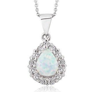 Glitzy Rocks Sterling Silver Created Opal and Cubic Zirconia Teardrop Necklace