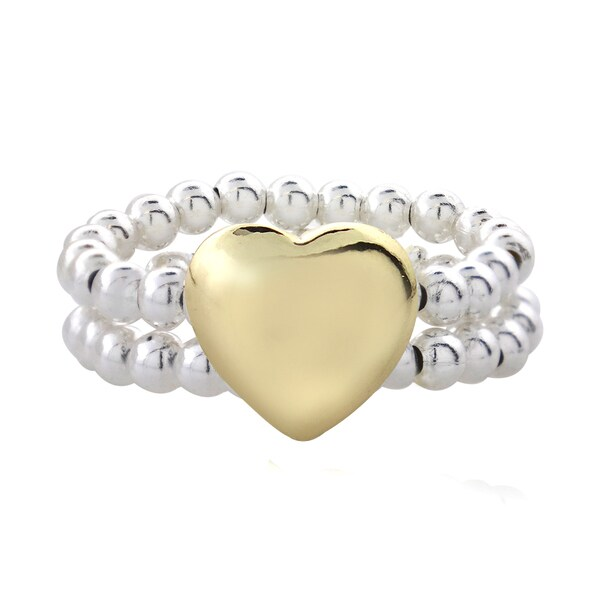 Mondevio Sterling Silver Two-tone Beaded Band Heart Ring