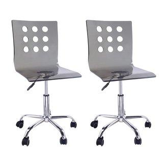 Adeco grey Transparent Hydraulic Lift Adjustable Office Chair, Acrylic, Chrome Base (Set of 2)