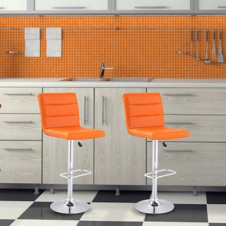Adeco Orange Leatherette Adjustable Barstool with Horizontal Channel Tufting, and Chrome Base (Set of 2)