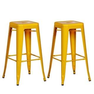Adeco Sheet Iron Tolix-Style Barstool, Yellow (Set of 2)