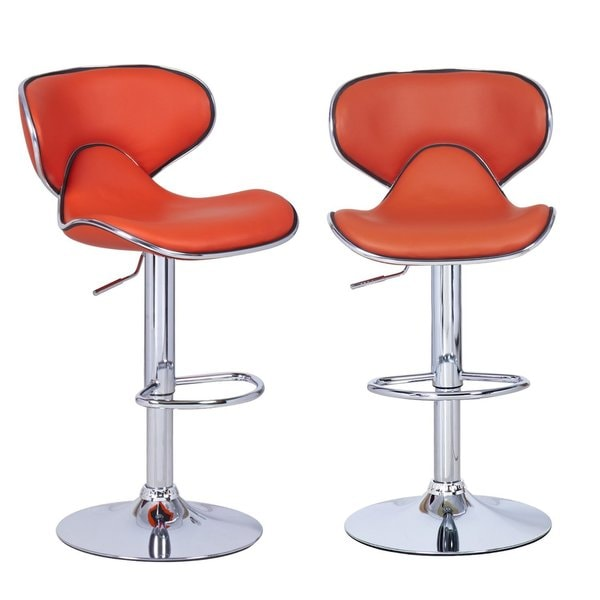 Share Email : Adeco Orange Leatherette Adjustable Barstool Chair Curved Back Chrome Base Set of two 650bb81c 6bd8 4f49 8cdd 805845417a4b600 from overstock.com size 600 x 600 jpeg 22kB