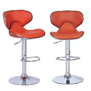 Adeco Orange Faux Leather, Curved Back, Chrome Base, Adjustable Barstools (Set of 2)