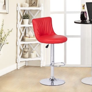 Adeco Red Hydraulic Lift Adjustable Barstool Chair, Puckered Leatherette (Set of 2)