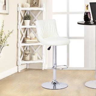 Adeco Cream-Color Hydraulic Lift Adjustable Barstool Chair, Puckered Leatherette (Set of 2)