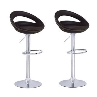 Adeco Brown Round Hydraulic Lift Adjustable Barstool Chair, PVC Covered, Chrome Base (Set of 2)