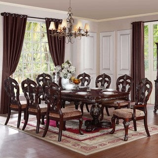 Freeport Brown 9-piece Pedestal Extending Table Dining Set