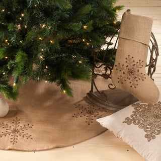 Beaded Snowflake Design Stocking or Tree Skirt