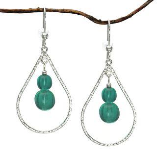 Jewelry by Dawn Teal Sterling Silver Textured Teardrop Earrings
