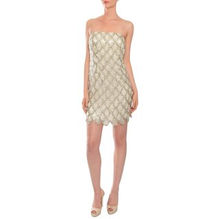 Aidan Mattox Women's Silver Beaded Silk Chiffon Strapless Cocktail Dress