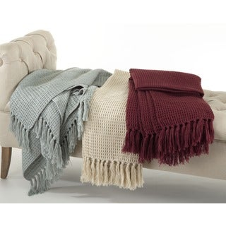 Waffle Weave Design Throw Blanket