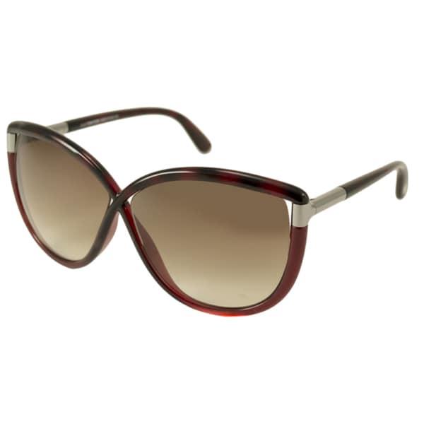 Tom Ford Women's FT0327/S Abbey 52F Dark Havana Round Sunglasses