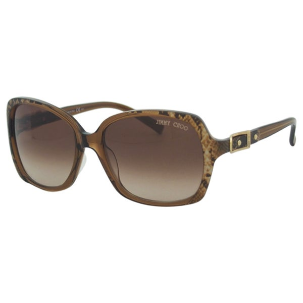 Jimmy Choo Women's 'Lela/S YO9 JD' Gold Snake Brown Square Sunglasses