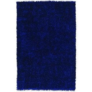 Vivid Cobalt Blue Rectangular Polyester Rug (5' x 7' 6)