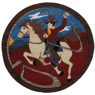 Rope' Em Multicolored Accent Rug (39 inches Round)