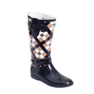 Women's Plaid Rider-style Rain Boots