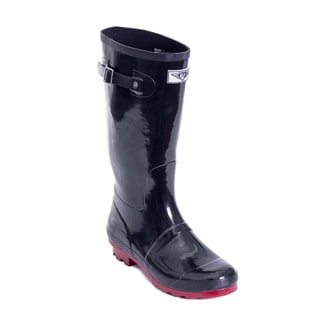Women's Black and Red Tall Rain Boots