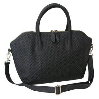 Amerileather 'Zeta' Black Diamond-embossed Leather Handbag