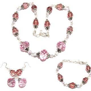 Pink Crystal 3-piece Wedding Jewelry Set