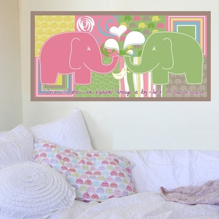 Peel and Stick Elephant Girl Mural