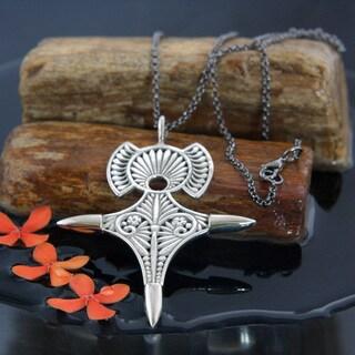 Brass Berber Tuareg Cross Pendant Necklace (Indonesia)