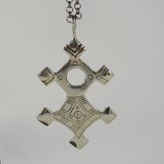Safe Journey Antiqued White Brass Tuareg Cross Pendant Necklace (Indonesia)