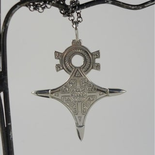Tuareg Antiqued White Brass Cross Pendant Necklace (Indonesia)