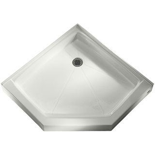 White Triple Threshold Neo-Angle Shower Base